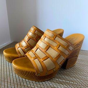 Kork Ease Charissa Leather Platform Sandals Size 8